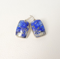 Contemporary Navajo silver earrings set with lapis-lazuli