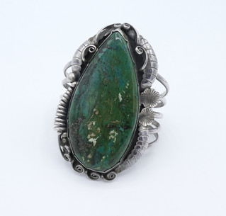 Fabulous old pawn variscite and silver ornate cuff.