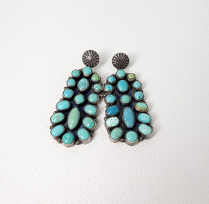 Fabulous vintage turquoise cluster and silver earrings with moccasin buttons