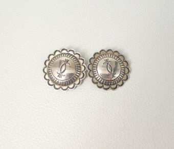 Vintage Navajo silver stamped clip on earrings