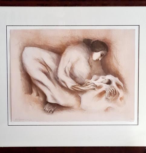 Original lithograph 'Navajo Mother' by R.C. Gorman