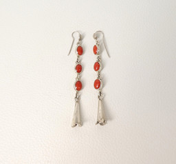 Contemporary Navajo coral and silver earrings by artist Greg Lewis