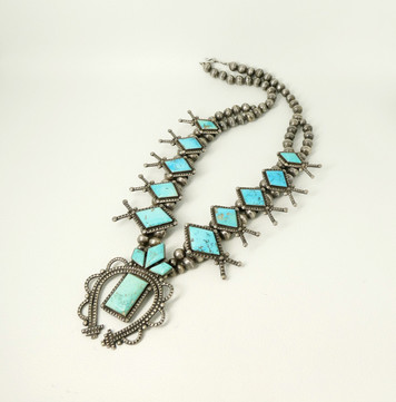 Superb vintage geometric Navajo turquoise squash blossom, silver beads necklace