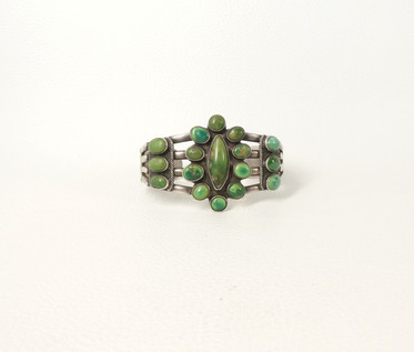 Vintage Navajo green cluster turquoise and silver cuff