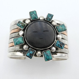 C1 Acoma Jet  and turquoise cuff