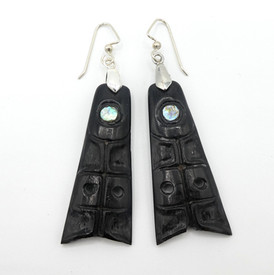 Patty Fawn earrings in ebony and silver with abalone accents.