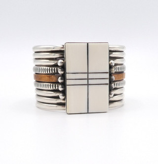 Scrimshawed ivory silver and copper handmade cuff by contemporary artist, Mike Bird Romero.