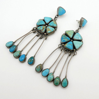Vintage Navajo green, blue turquoise and silver long earrings