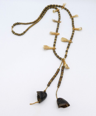 Amazing rare early brass beads necklace with deer dewclaws and teeth