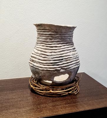 Pre historic white corrugated olla from Arizona Anasazi site. ca 1200-1400AD