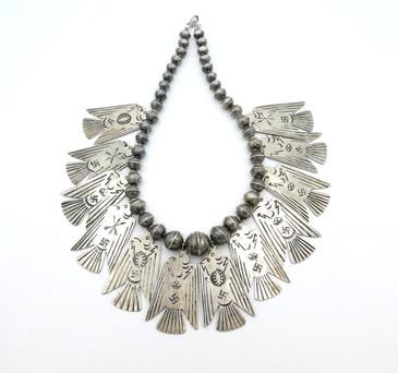 Vintage Navajo Fred Harvey era, thunderbird silver necklace