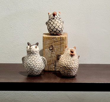 Vintage Zuni pottery owl collection
