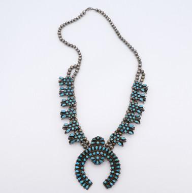Superb Zuni, petti-point turquoise squash blossom necklace
