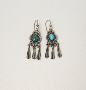 Silver and turquoise stamped Navajo vintage earrings