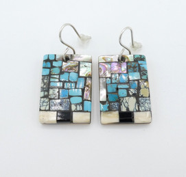 Bryan Tom inlaid rectangular earrings with silver.