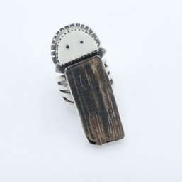 R13 Fossil Mastadon and Walrus Ivory ring