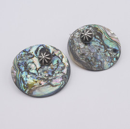 Abalone earrings with silver moccasin button earrings by Mike Bird Romero
