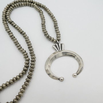 Silver bead and Naja necklace by artist Mike Bird - Romero