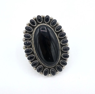 Large contemporary Navajo onyx and silver cluster ring.