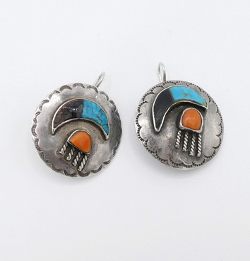 Exquisite Navajo rain cloud and moon earrings in silver, turquoise, coral and jet inlay.