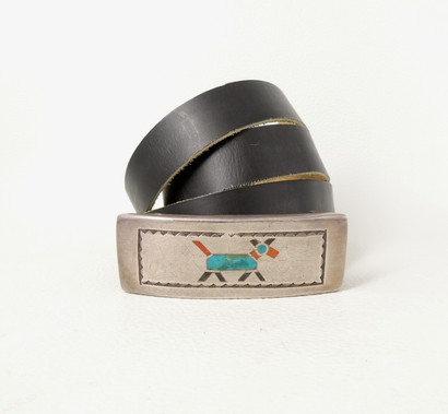 Vintage Zuni silver buckle with horse motif inlaid