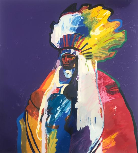 'Chief Rain on the Face' Lithograph by John Nieto