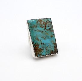Vintage Navajo rectangular set large turquoise and silver ring