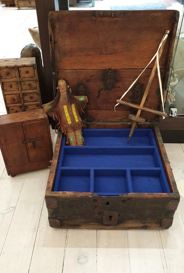 Strong box from St Louis, Santa Fe trail. Converted into a two tier lined jewellery box