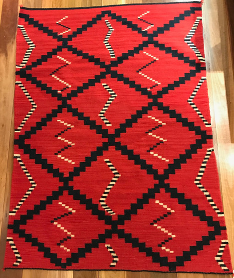 Rug Navajo weaving with indigo 1140mm x 1570mm