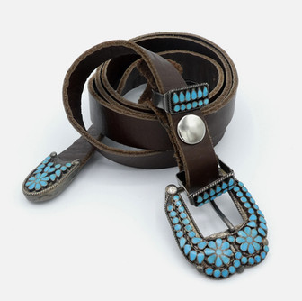 Superb vintage Zuni turquoise inlay ornate ranger set by Dishta Sr, with his hallmark.