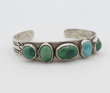Old pawn Navajo green turquoise five stone and silver stamped cuff.