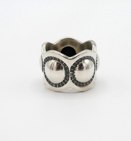 Navajo designer Cody Sanderson silver repoussed wave band
