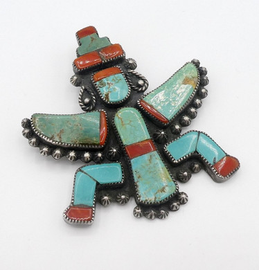 Vintage Zuni turquoise and coral Knifewing pendant