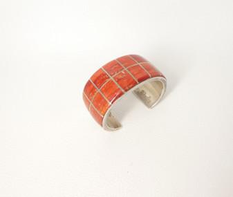 Vintage fine Zuni silver channel inlay wide coral cuff