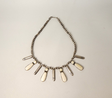 Vintage Navajo fossilised ivory and silver necklace