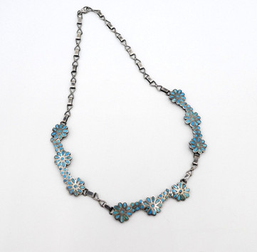 Vintage Zuni channel inlay turquoise and silver necklace