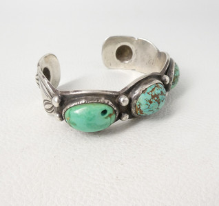 Early, Navajo 3 stone cuff with repouse detail from the Lynn Trusdell collection