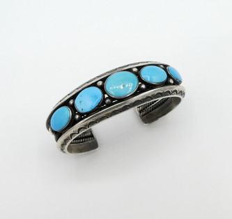 Vintage Navajo blue turquoise and silver stamped with twist wire, row cuff