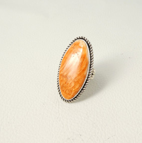 Albert Lee Orange spiny oyster shell and silver ring