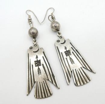 Old Navajo silver thunderbird stamped earrings