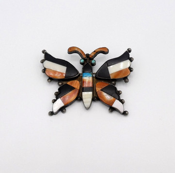 Vintage Zuni inlay butterfly pin and or pendant