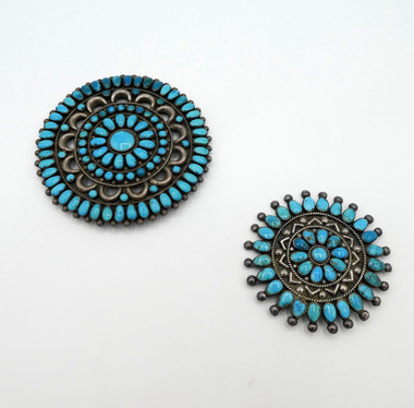 Two turquoise vintage cluster pin and or pendants