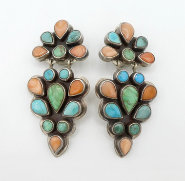 Vintage silver earrings with a soft palette of colour  by renowned artist Oscar Betz