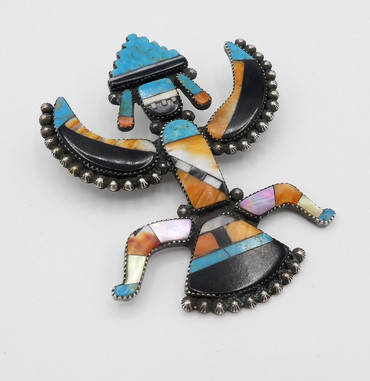 Superb old Zuni large Knifewing pin and pendant by Leo Poblano