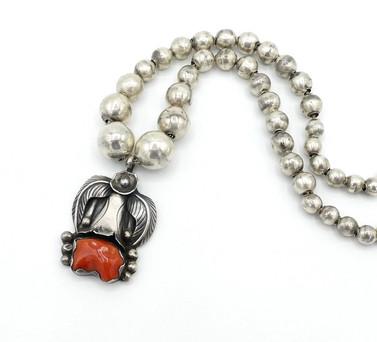 Vintage Navajo coral and silver pendant