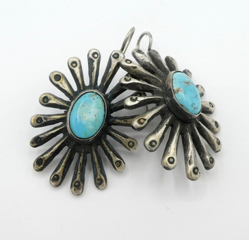 Large sandcast silver and turquoise button earrings