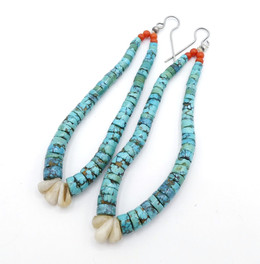 Vintage Navajo jochla turquoise with clamshell earrings