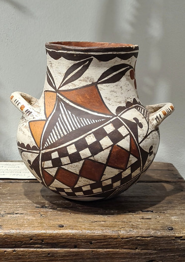 Historic handcoiled clay jar from Acoma, circa 1870's