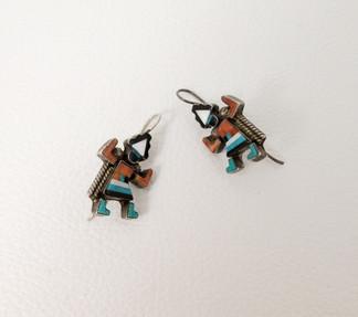 Vintage Rainbow dancer inlay Zuni earrings