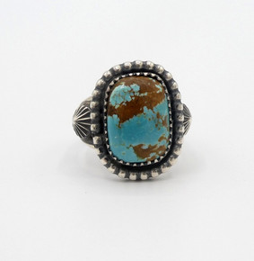 Turquoise and silver contemporary Navajo square ring with copper matrix